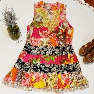 Free People Floral Boho Tiered Dress Size Medium